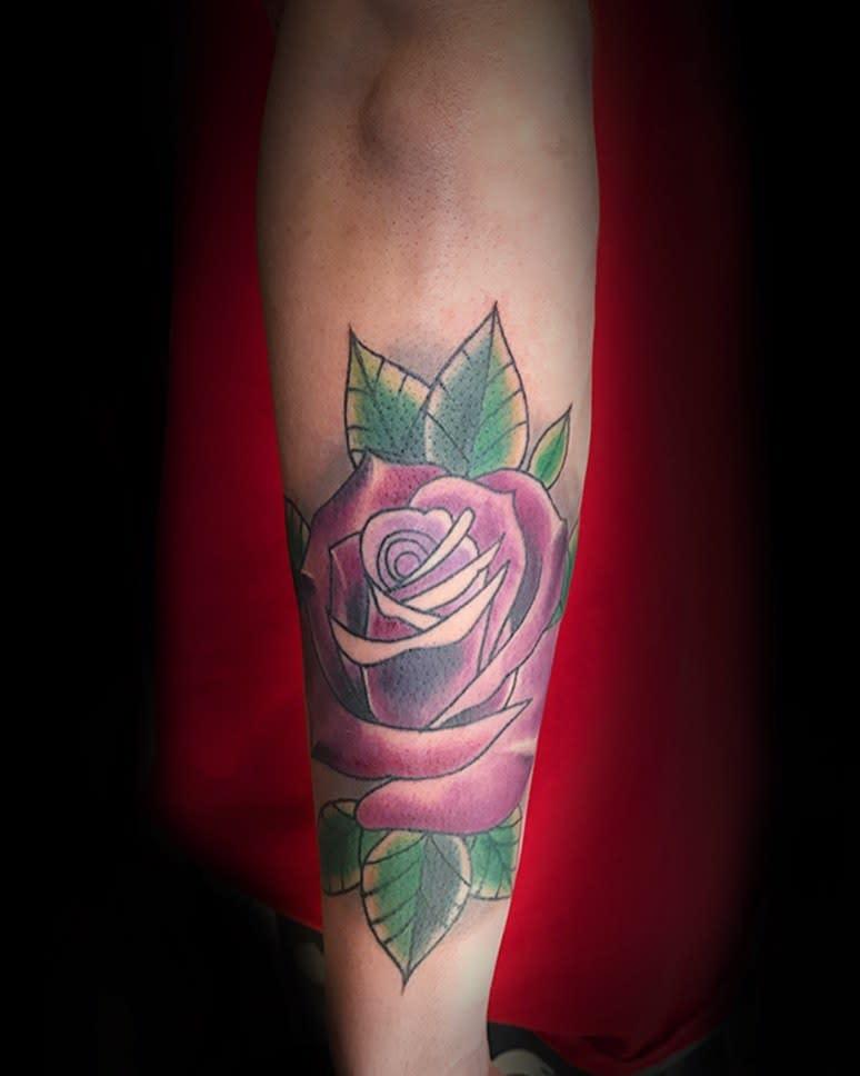 forearm purple rose tattoos inkbycristina