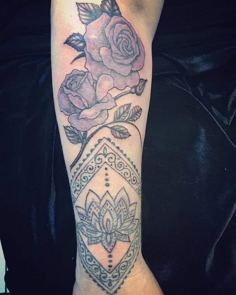forearm purple rose tattoos metamorphosistattoos