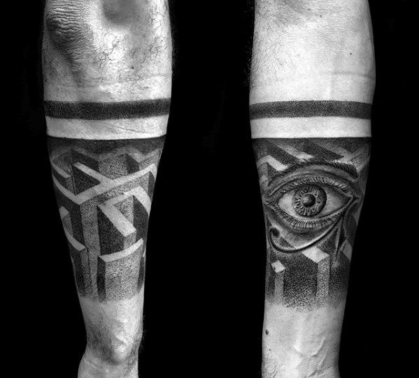 Forearm Quarter Sleeve 3d Maze Male Tattoos