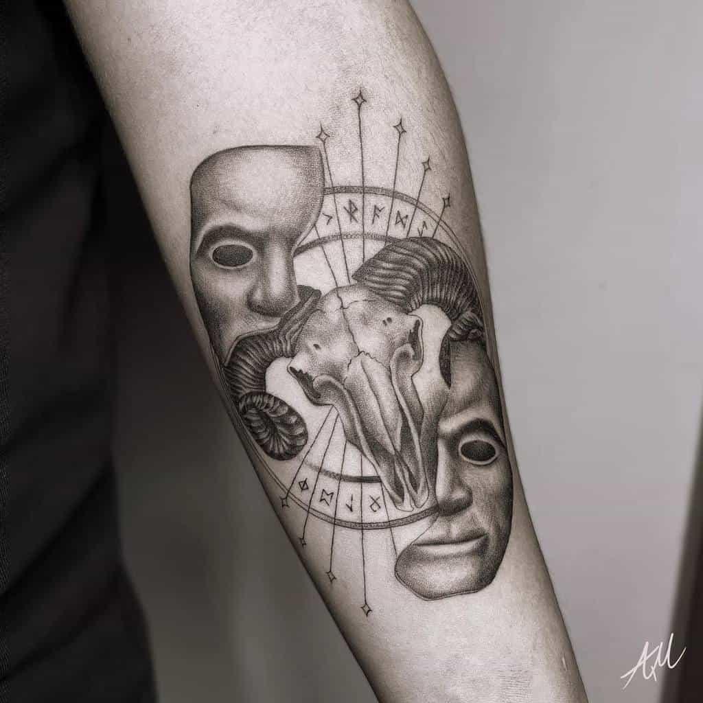 forearm ram skull tattoo alyssamtt