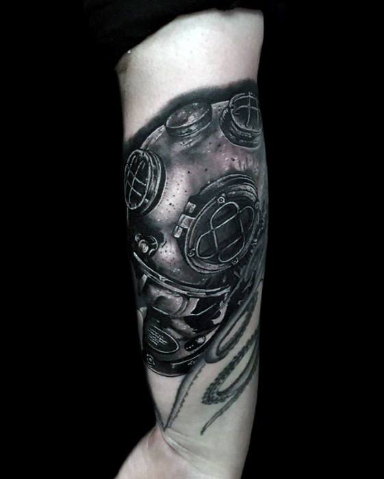 Forearm Realistic 3d Diving Helmet Guys Tattoos