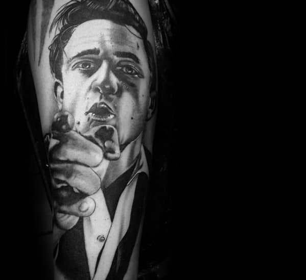 Forearm Realistic Johnny Cash Male Tattoos