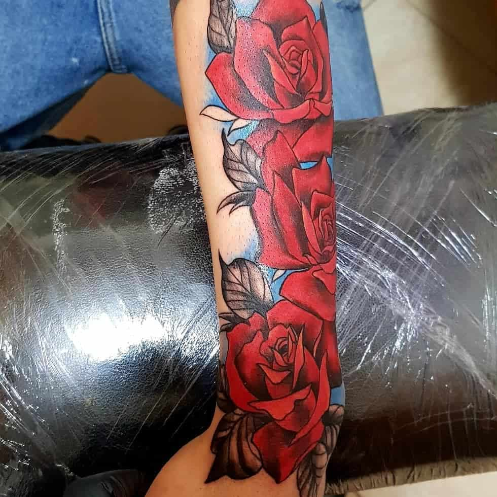 forearm red rose tattoos graphoart90
