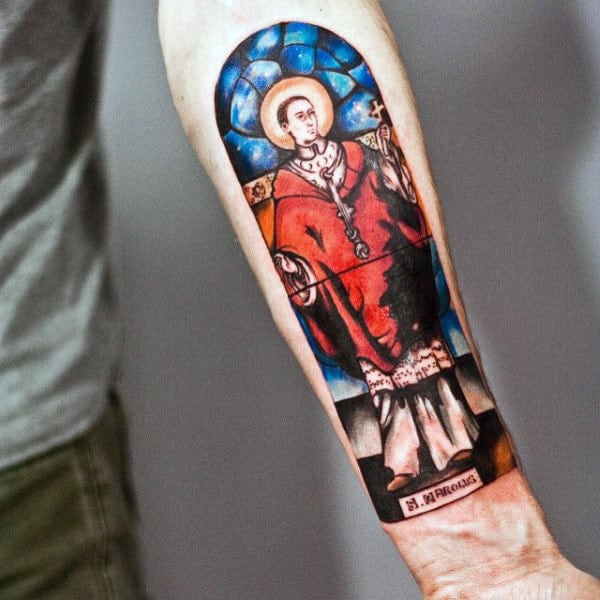 Forearm Religious Male Stained Glass Tattoo