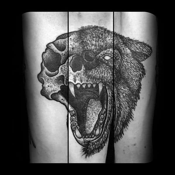 Forearm Roaring Bear Mens Skull Forearm Tattoos