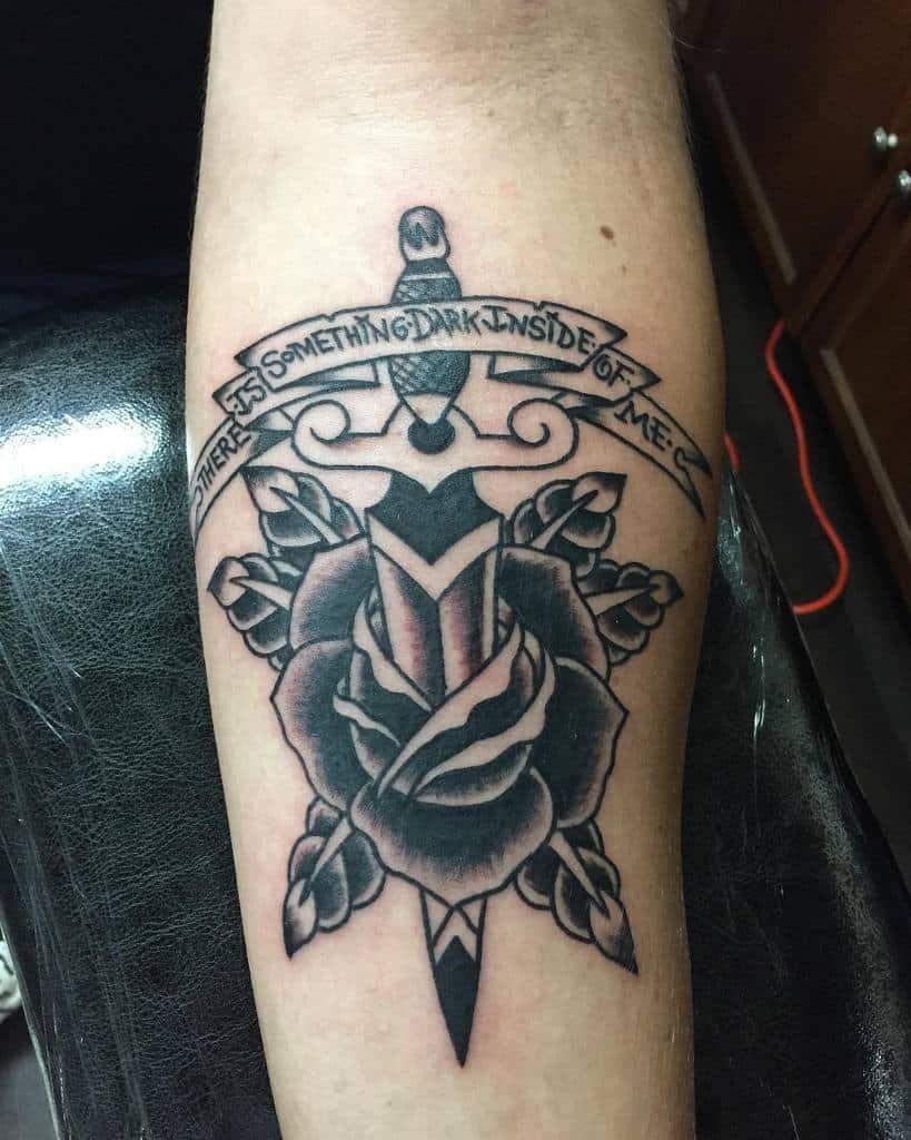 forearm rose and dagger tattoos mcbastard83