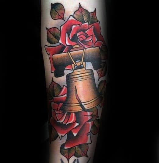 Forearm Rose Flower Cracked Liberty Bell Male Tattoo Ideas