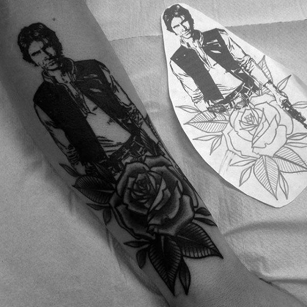 Forearm Rose Flower Han Solo Tattoo Ideas For Males