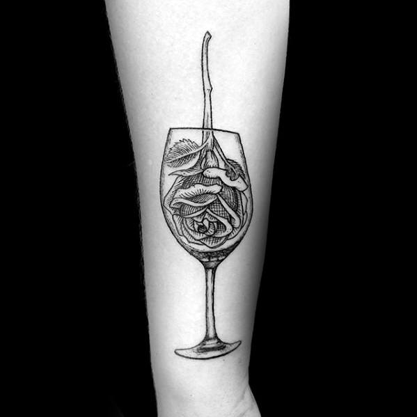 Forearm Rose Flower Wine Tattoo Designs For Guys