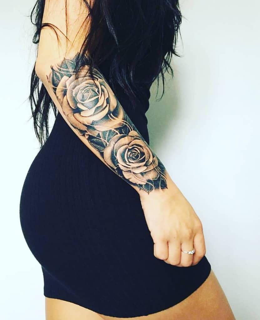 forearm rose sleeve tattoos all_of_tattoos