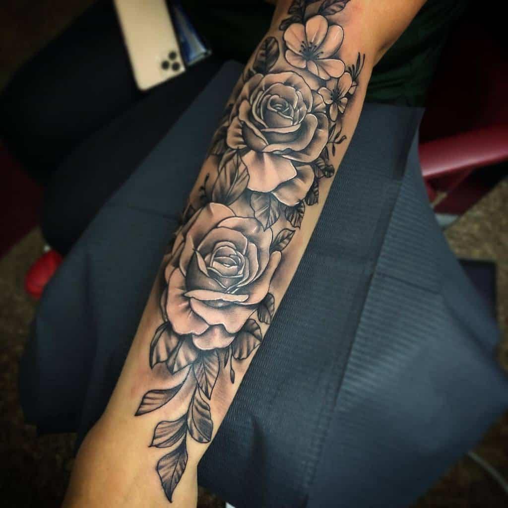 forearm rose sleeve tattoos angeltat_ink