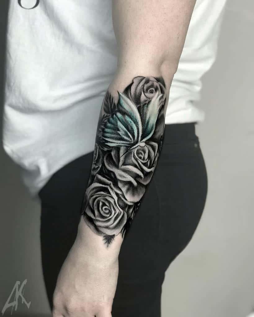 forearm rose sleeve tattoos artkomtattoo