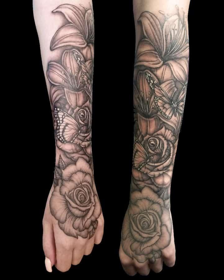 forearm rose sleeve tattoos tannattoo