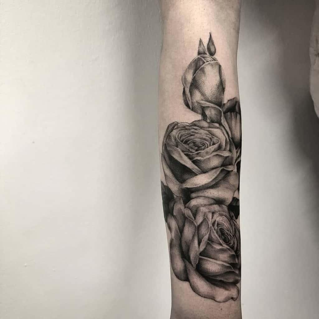 forearm rose sleeve tattoos the_devlintattoos