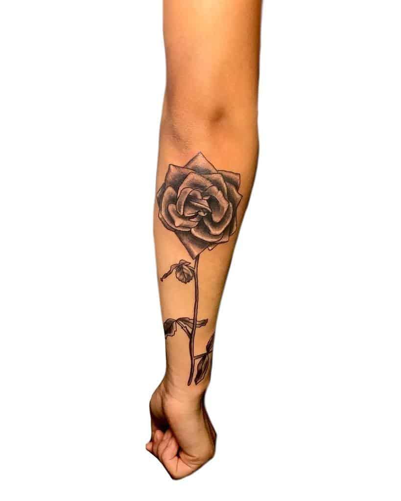 forearm rose with stem tattoos ariana_avila_arts