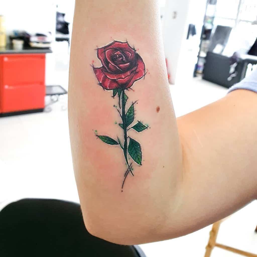 forearm rose with stem tattoos drivebram