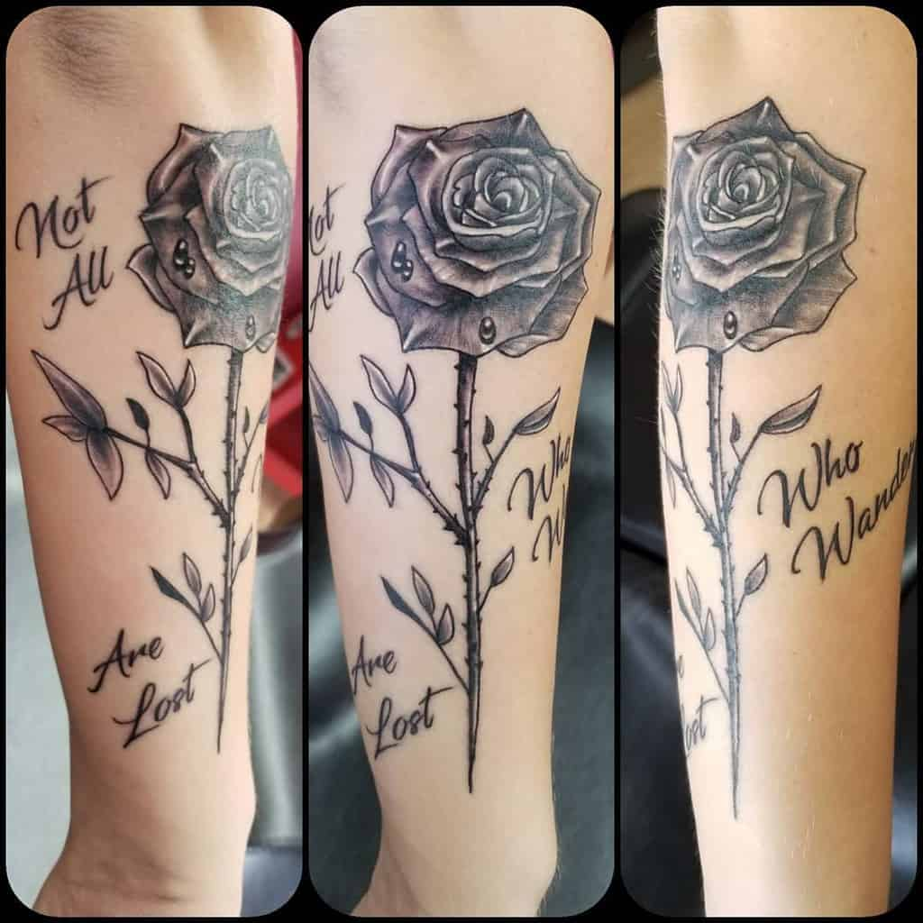 forearm rose with stem tattoos js.tattoos