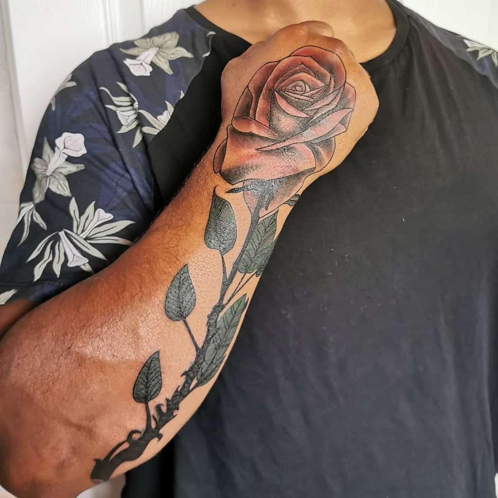 forearm rose with stem tattoos king_kie_pie_