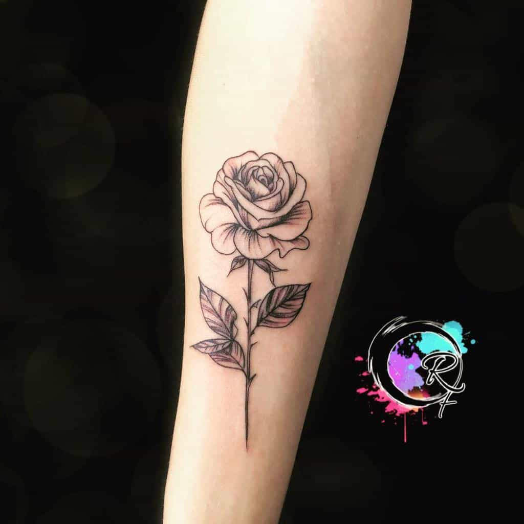 forearm rose with stem tattoos rfarlesetattoo