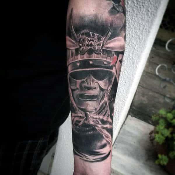 Forearm Samurai Helmet With Cool Crest Mens Tattoos