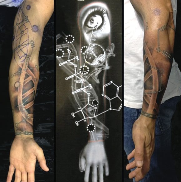 Forearm Science Dna Tatttoo For Males