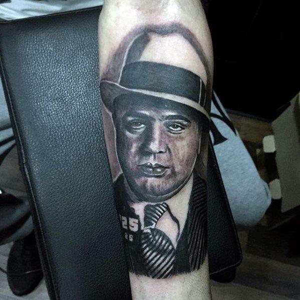 Forearm Shaded Black And Grey Al Capone Tattoos Men