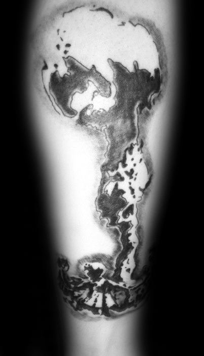 Forearm Shaded Guys Mushroom Cloud Tattoo Design Ideas