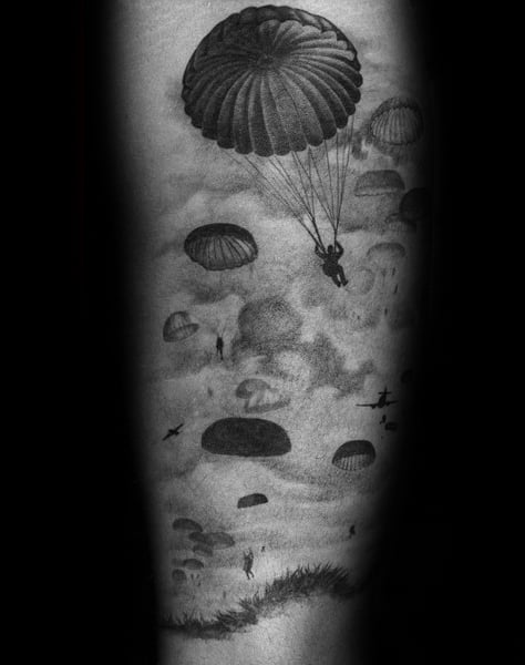 Forearm Shaded Parachute Guys Tattoo Ideas
