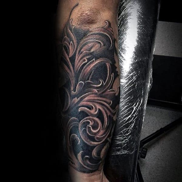 Forearm Shaded Sleeve Tattoo With Filigree Design On Gentleman