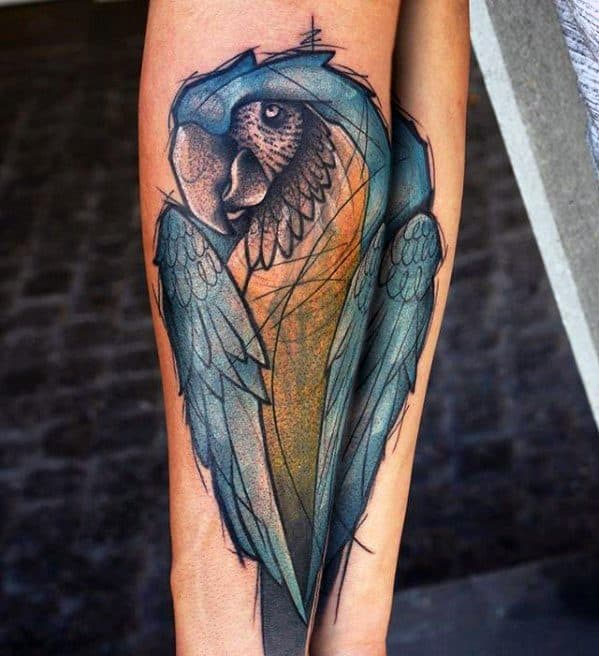 Forearm Sketched Blue And Yellow Parrot Tattoo Designs For Guys