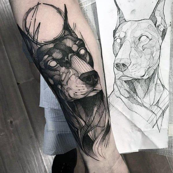 Forearm Sketched Doberman Tattoos Men