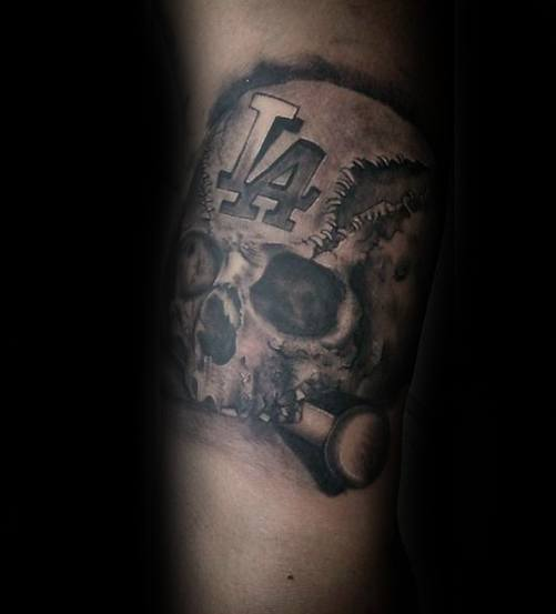 Forearm Skull Baseball Dodgers Male Tattoo Designs