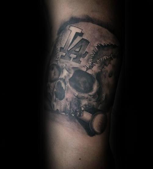 Forearm Skull Baseball Dodgers Male Tattoo Designs