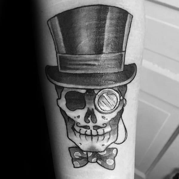 Forearm Skull Bowtie Top Hat Mens Tattoo Ideas