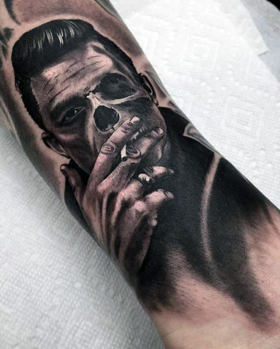 Forearm Skull Guys Tattoo Ideas Johnny Cash Designs