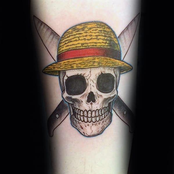Forearm Skull Hat One Piece Tattoo Designs On Gentleman
