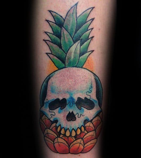 Forearm Skull Pineapple Mens Tattoo Ideas