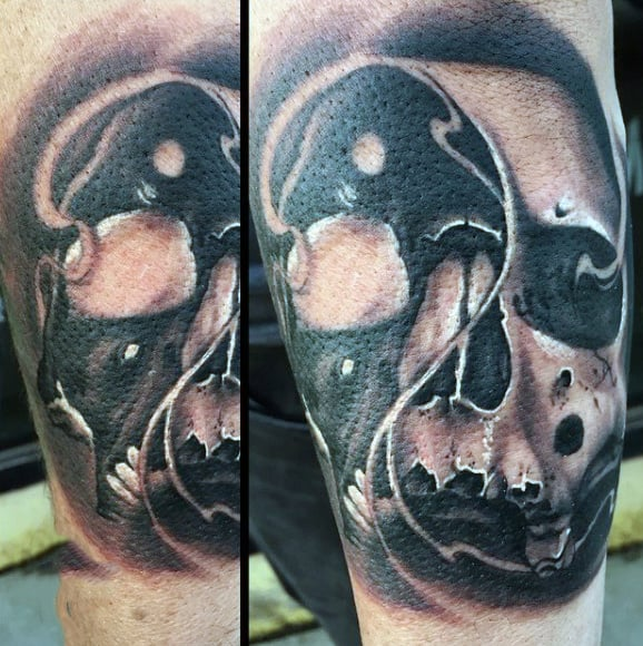Forearm Skull Yin Yang Tattoos Designs For Males