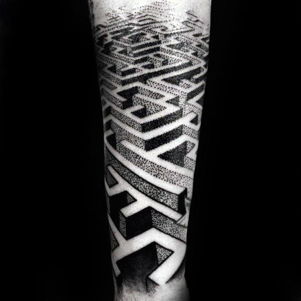 Forearm Sleeve 3d Dotwork Maze Tattoos Male