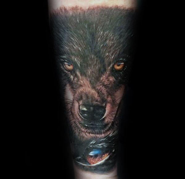 Forearm Sleeve 3d Eye Mens Cool Sick Wolf Tattoo Design Inspiration