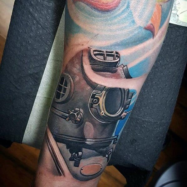 Forearm Sleeve 3d Realistic Mens Tattoo Ideas With Diving Helmet Design