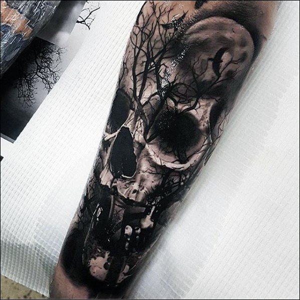 Forearm Sleeve 3d Skull And Trees Mens Rad Tattoo Design Inspiration