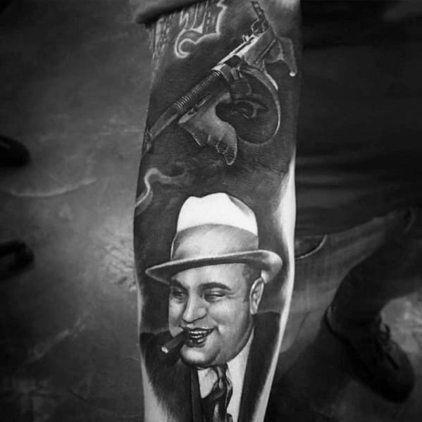 Forearm Sleeve Al Capone Mens Tattoo Designs