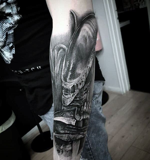 Forearm Sleeve Alien Black And Grey Male Tattoo Ideas