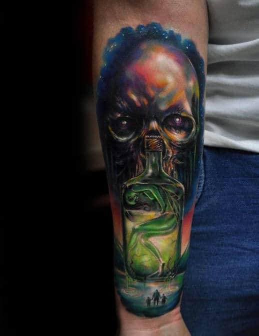 Forearm Sleeve Alien Colorful Mens Tattoos