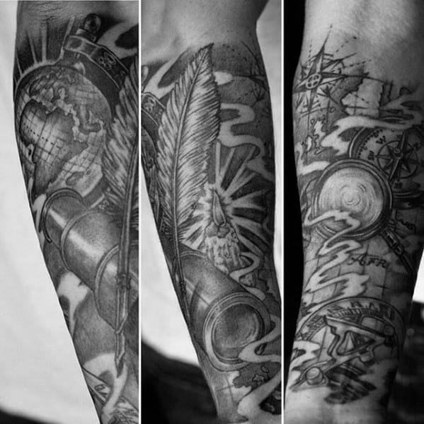 Forearm Sleeve Amazing Mens Telescope Tattoo Designs