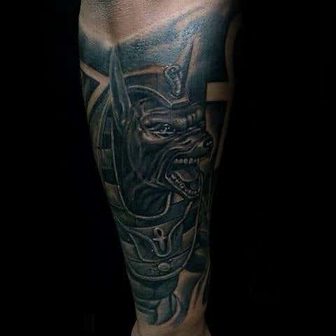 Forearm Sleeve Anubis Tattoo On Male