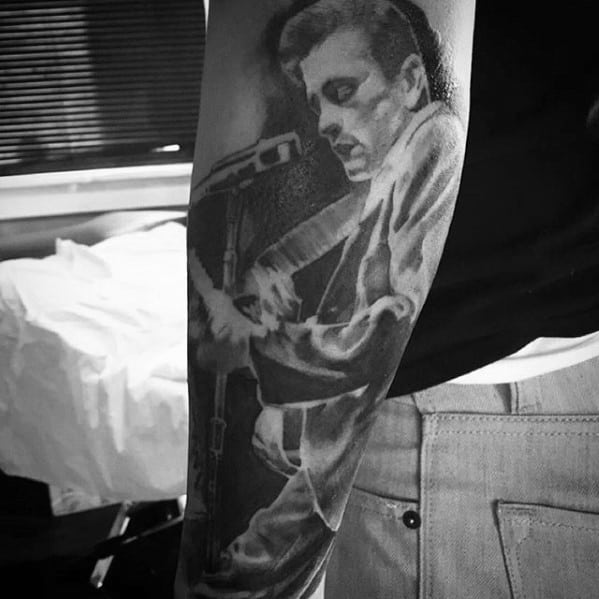 Forearm Sleeve Artistic Male Johnny Cash Tattoo Ideas