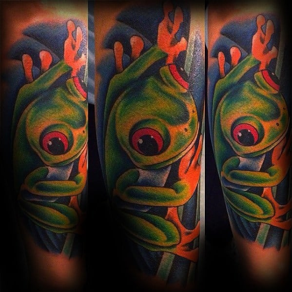 Forearm Sleeve Awesome Tree Frog Tattoos For Men