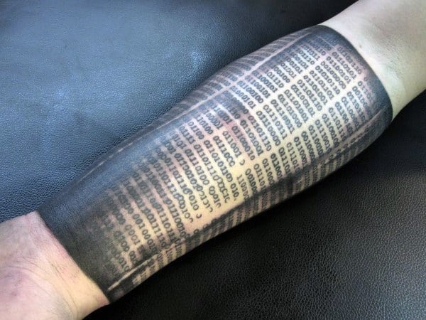 Forearm Sleeve Binary Tattoos For Males